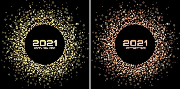 Neujahr 2021 glitzerrahmenset. bunter konfetti-rand aus glitzerpapier.