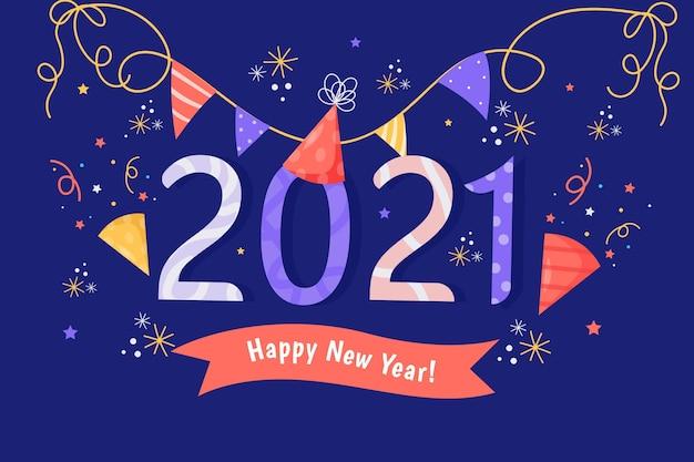 Neujahr 2021 hintergrund im flachen design