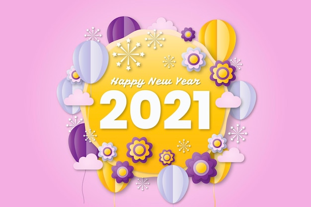 Neujahr 2021 hintergrund im papierstil