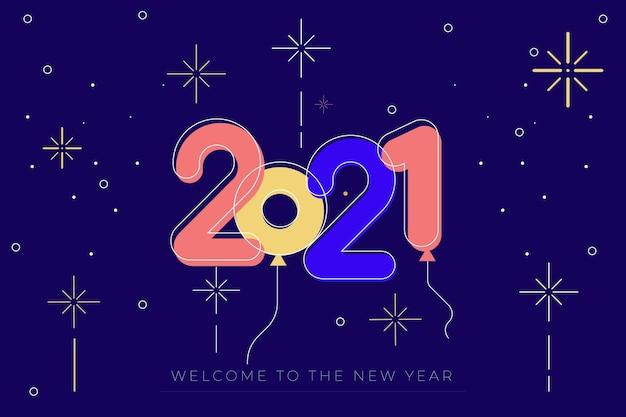 Neujahr 2021 in flachem design