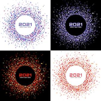 Neujahr 2021 nacht hintergrund party set. grußkarten. konfetti aus rotem glitzerpapier. glitzernde festliche lichter. leuchtender kreisrahmen. weihnachtsrotweißhintergründe.
