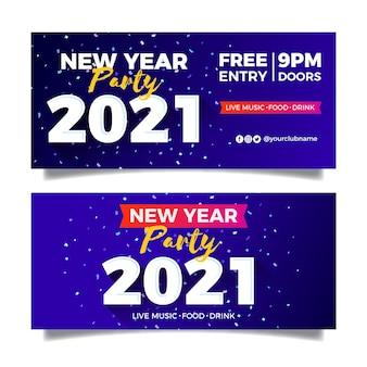 Neujahr 2021 party banner im flachen design