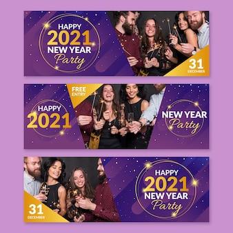 Neujahr 2021 party banner vorlage