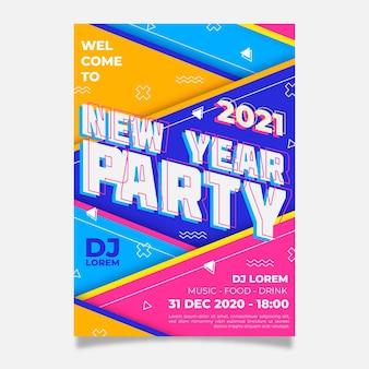 Neujahr 2021 party flyer vorlage in flachem design
