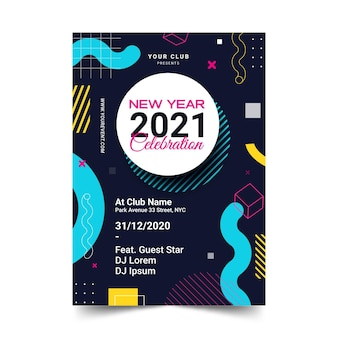 Neujahr 2021 party flyer vorlage in flachem design