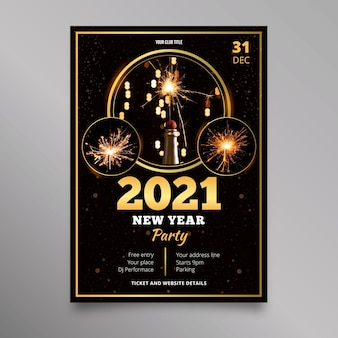 Neujahr 2021 party flyer vorlage