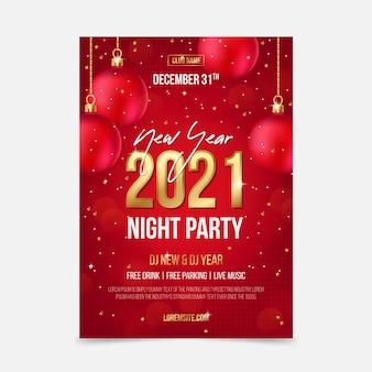 Neujahr 2021 party poster vorlage