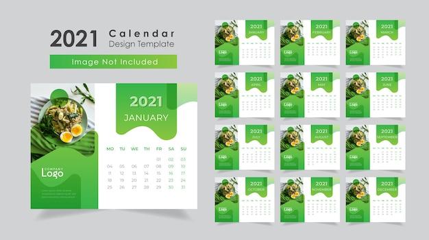 Neujahr 2021 tischkalender design für restaurant Premium Vektoren