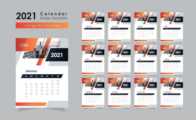 Neujahr 2021 wandkalender design