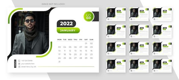 Neujahr 2022 einfache tischkalendervorlage