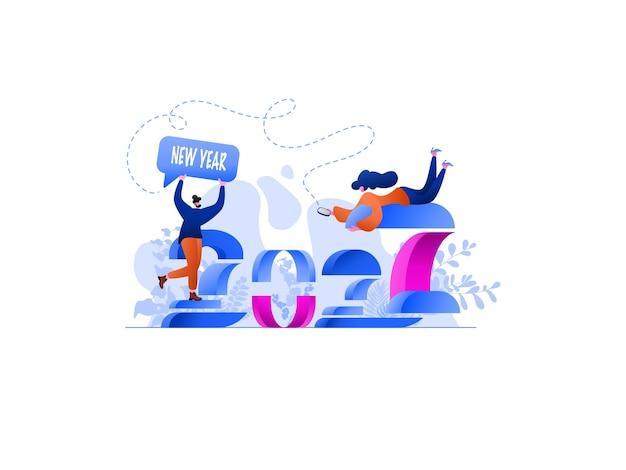 Neujahr 2022 network flat illustration, perfekt für landing pages, vorlagen, ui, web, mobile app, poster, banner, flyer, entwicklung. vektor