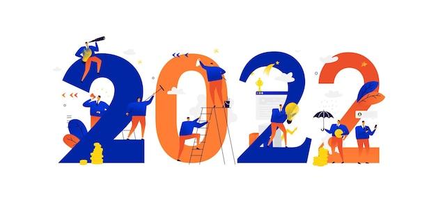 Neujahr 2022 treffen des neuen jahres geschäftsleute feiern weihnachten und neujahr geschäftsmetaphern geschäftsleute in verschiedenen situationen