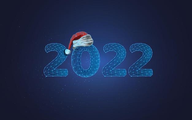 Neujahr 2022 und nikolausmütze im wireframe-stil