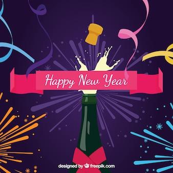 Neujahr baclground mit champagner-flasche