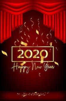 Neujahr design rote vorhänge und bänder