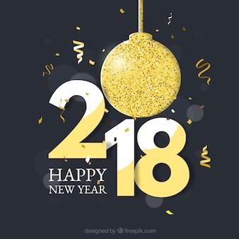 Neujahr Hintergrund mit einem goldenen Spielerei