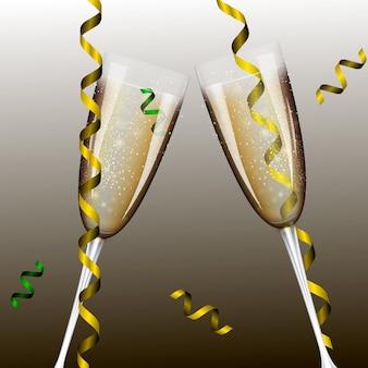 Neujahr mit champagnergläsern.