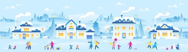 Neujahr oder weihnachten kleine stadt mit kleinen leuten