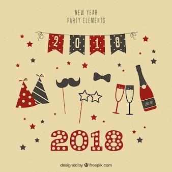 Neujahr party-elemente im vintage-stil