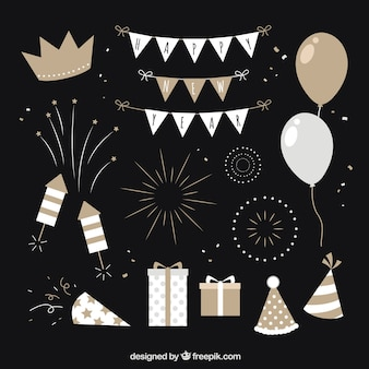 Neujahr party elements-kollektion in beige und grautönen