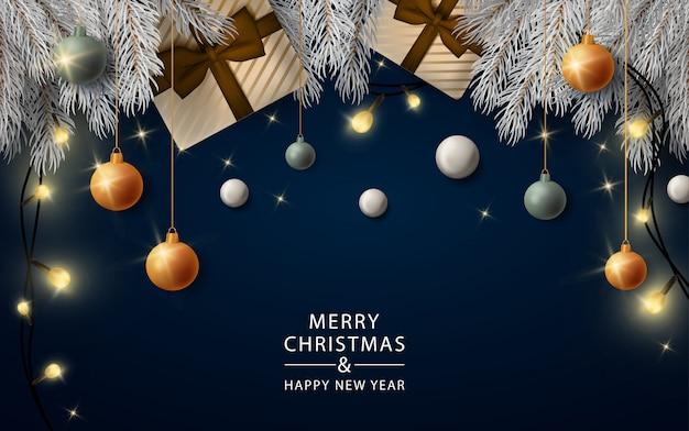 Neujahr realistische lichter banner