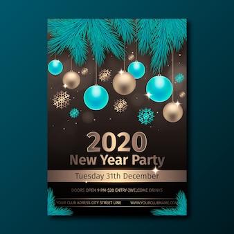 Neujahr realistische party flyer vorlage