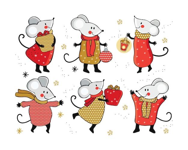 Neujahr und weihnachten niedlicher cartoon-maussatz