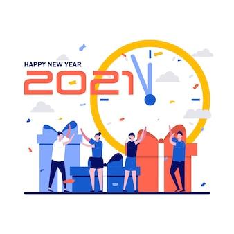 Neujahrs-countdown-konzept mit kleinen leuten, uhr und großen geschenken