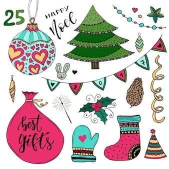 Neujahrs-kollektion von dekorationen. weihnachtsvektorelemente. bunte illustration des neuen jahres.