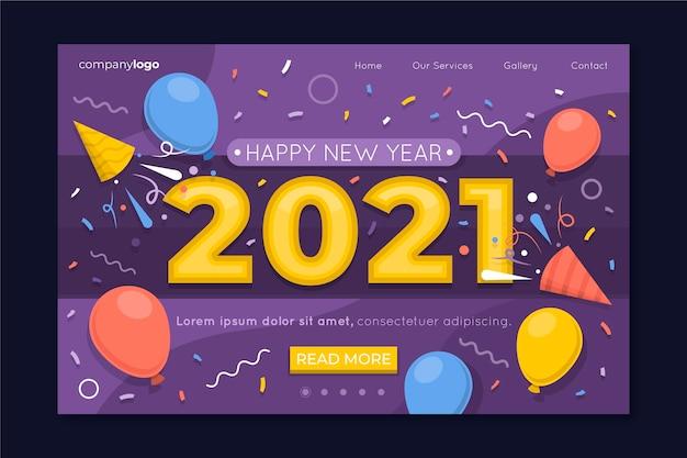 Neujahrs-landingpage im flachen design