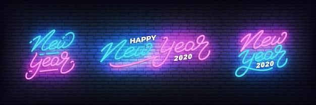 Neujahrs-neon-set, leuchtende neon-schriftzug vorlage für das neue jahr 2020