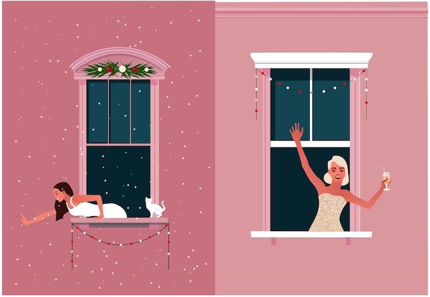 Neujahrs- oder weihnachtsfeier. ausgangssperre. quarantäneleben. fensterrahmen mit nachbarn feiern. schnee. bunte illustration im modernen flachen stil.