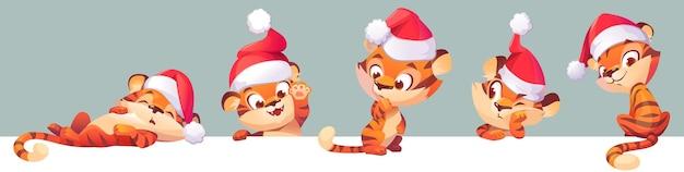 Neujahrs-tiger im weihnachtsmann-hut-chinese-tierkreis