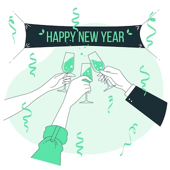 Neujahrs-toastkonzeptillustration