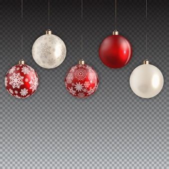 Neujahrs- und weihnachtsball auf transparentem hintergrund. vektor-illustration