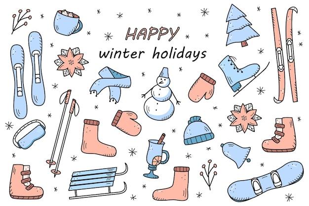 Neujahrs- und weihnachtselemente im doodle-stil. vektorgrafik von winterkleidung, sportgeräten, fichte, speisen und getränken. symbole für den winterurlaub.