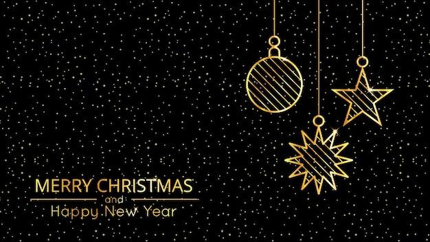 Neujahrs- und weihnachtshintergrund mit goldenen glitzernden weihnachtsdekorationen und schneeflocken und text. elegante luxusvektorillustration.