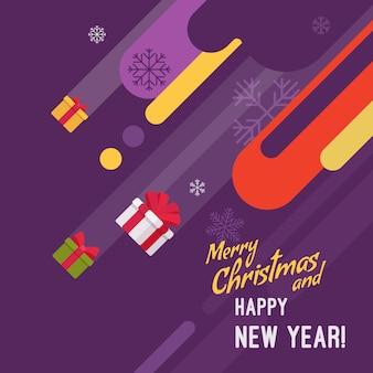 Neujahrs- und weihnachtskartenillustration