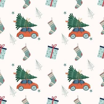 Neujahrs- und weihnachtsmuster nahtloses muster mit retro-rotem auto mit weihnachtsbaum