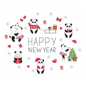 Neujahrs- und weihnachtsspaß-set mit niedlichen pandas, die sich umarmen, geschenke geben, den weihnachtsbaum verkleiden und den feiertag feiern. vektoraufkleber für soziale netzwerke. pandas in verschiedenen posen und kleidung.