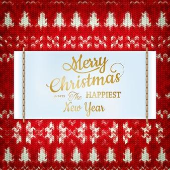 Neujahrs-weihnachtsdekoration. weihnachtsschablone gegen gestrickten hintergrund. illustration für silvester, weihnachten, winterferien, silvester, silvester usw. datei enthalten