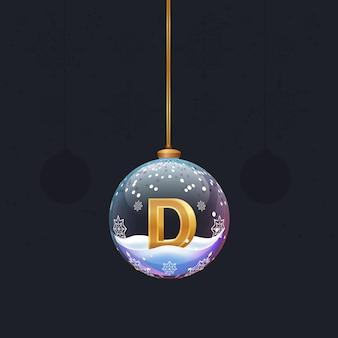 Neujahrsalphabetbuchstabe im glasweihnachtsspielzeug goldener 3d-buchstabe d im dekorationselement