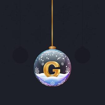 Neujahrsalphabetbuchstabe im glasweihnachtsspielzeug goldener 3d-buchstabe g im dekorationselement