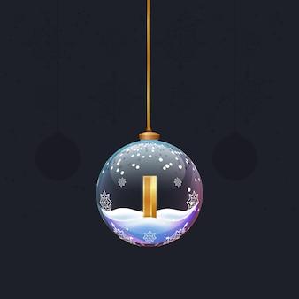 Neujahrsalphabetbuchstabe im glasweihnachtsspielzeug goldener 3d-buchstabe i im dekorationselement