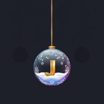 Neujahrsalphabetbuchstabe im glasweihnachtsspielzeug goldener 3d-buchstabe j im dekorationselement