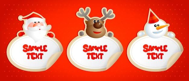 Neujahrsaufkleber mit weihnachtsmann, hirsch und schneemann.