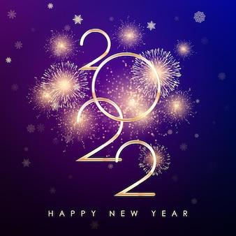 Neujahrsbanner mit goldenem feuerwerk und farbigem hintergrund