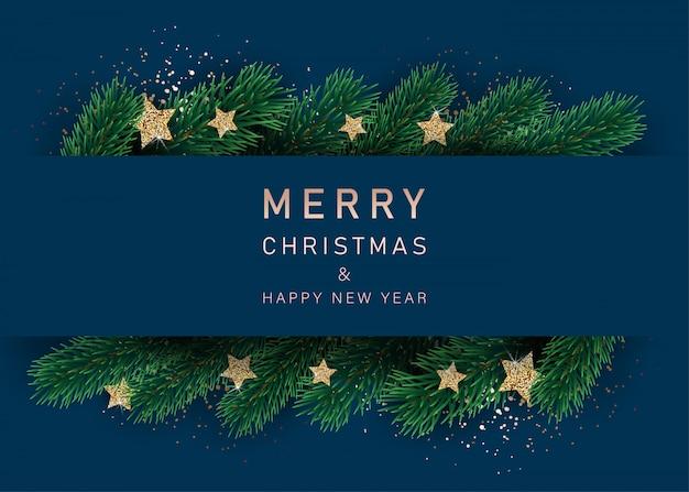 Neujahrsbanner mit verzierten sternen und tannenzweigen. mit schneerahmen auf blauem hintergrund. festliches header-design für ihre website.