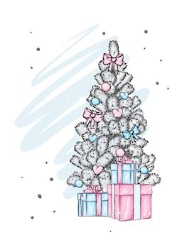 Neujahrsbaum und geschenke. vektorillustration.