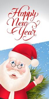 Neujahrsbeschriftung mit santa claus